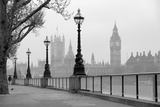 Big Ben And Houses Of Parliament, Black And White Photo Stampe di  tombaky