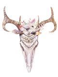 Bohemian Deer Skull - Western Mammal Watercolor Lámina giclée prémium por  Kris_art