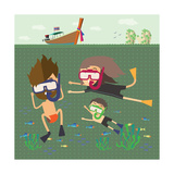 Divers Snorkeling in the Sea Thailand Poster von  Sajja