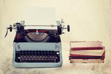 Old Typewriter With Books Retro Colors On The Desk Poster av  Artush