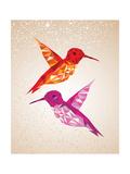 Colorful Humming Birds Illustration Giclée-Premiumdruck von  cienpies