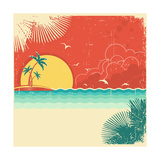 Vintage Nature Tropical Seascape Background With Island And Palms Decoration On Old Paper Poster ポスター :  GeraKTV
