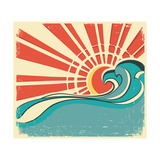 Sea Waves.Vintage Illustration Of Nature Poster With Sun On Old Paper Print by  GeraKTV