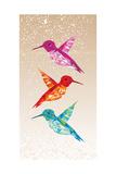 Colorful Humming Birds Illustration Kunstdrucke von  cienpies