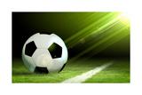 Black And White Soccer Ball Poster van Sergey Nivens