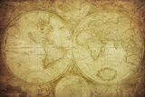 Retro Karte von der Welt Kunstdrucke von  javarman