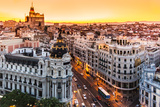 Panoramic View Of Gran Via, Madrid, Spain Kunstdruck von  kasto