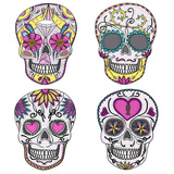 Mexican Skull Set. Colorful Skulls With Flower And Heart Ornamens. Sugar Skulls Poster von cherry blossom girl
