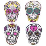 Mexican Skull Set. Colorful Skulls With Flower And Heart Ornamens. Sugar Skulls Juliste tekijänä cherry blossom girl