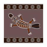 A Illustration Based On Aboriginal Style Of Dot Painting Depicting Platypus Lámina por  deboracilli