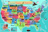 Usa Map in Cartoon Style Kunst von Artisticco LLC