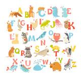 Cute Vector Zoo Alphabet. Funny Cartoon Animals Metalltrykk av  coffeee_in
