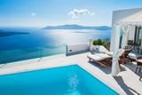 White Architecture on Santorini Island, Greece. Photographic Print by Olga Gavrilova