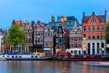 Night City View of Amsterdam Canal with Dutch Houses Photographic Print by kavalenkava volha