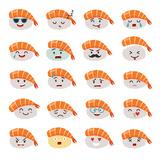 Sashimi Emoji Vector Set. Emoji Sushi with Faces Icons. Sushi Roll Funny Stickers. Food Cartoon Sty Taide tekijänä  coffeee_in
