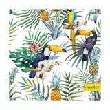 Watercolor, Tropical, Pineapple, Exotic, Pattern Metal Print by  Zenina