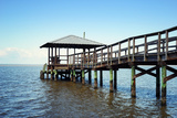 Rustic Wooden Fishing and Swimming Pier Lámina fotográfica por  forestpath
