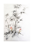Watercolor Painting of Bamboo and Orchids Plakater av  Surovtseva