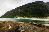 Long Exposure Panoramic Shot of the Beach Mjelle in Northern Norway Photographic Print by  Lamarinx
