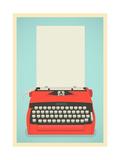 Retro Typewriter Background Premium Giclee-trykk av  Yaviki
