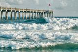 Surf's up at Pensacola Beach Fishing Pier Photographic Print by  forestpath