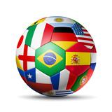 Brazil 2014,Football Soccer Ball with World Teams Flags Kunst von  daboost