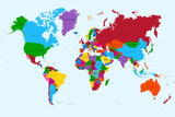World Map - Colorful Countries Posters av  cienpies