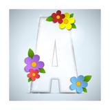 Alphabet Glass Spring With Flowers Metalltrykk av  gubh83