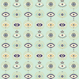 Mint Evil Eyes Pattern Gicléedruk van Cat Coquillette