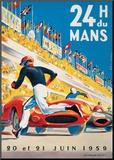 Le Mans 20 et 21 Juin 1959 Druck aufgezogen auf Holzplatte von  Beligond