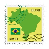 Stamp With Map And Flag Of Brazil Metalltrykk av  Perysty