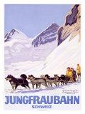 Jungfraubahn Schweiz Gicléetryck av Emil Cardinaux
