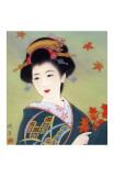 Geisha japonesa entre hojas de otoño Lámina giclée