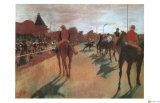 Race Horses in Front of the Grandstand Giclée-tryk af Edgar Degas