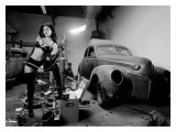 Pin-Up Girl: Rat Rod Blow Torch Giclee Print by David Perry