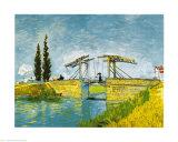 雨傘をさす女のいるアルルのラングロア橋 高画質プリント : フィンセント・ファン・ゴッホ