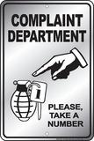 Complaint Department Placa de lata