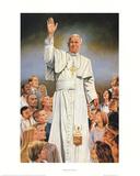 Pope John Paul II White Robes Kunst