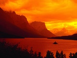 Sunset Over Lake in Glacier National Park Photographic Print by Mick Roessler