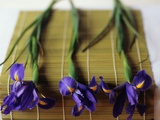 Purple Irises on a Bamboo Mat Photographic Print by Colin Anderson