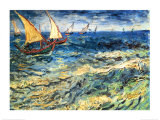 サント・マリの海の景色 1888年 高画質プリント : フィンセント・ファン・ゴッホ