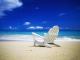 Beach Chair on Empty Beach Stretched Canvas Print by Randy Faris