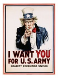 I Want You for the U.S. Army, Recruitment Giclee Print by James Montgomery Flagg