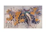 Chrysanthemums and Birds Reproduction procédé giclée par Haizann Chen
