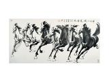 Chevaux galopant Reproduction procédé giclée par Guozen Wei