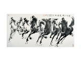 Running Horses Giclee Print by Guozen Wei