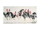 Auspicious Chickens Giclée-tryk af Guozen Wei