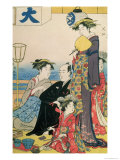 Women of the Gay Quarters, Right Hand Panel of a Diptych (Colour Woodblock Pring) Giclee Print by Torii Kiyonaga