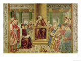 St. Augustine Reading Rhetoric and Philosophy at the School of Rome Giclée-tryk af Benozzo Gozzoli