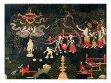 The Life of Buddha Shakyamuni, Detail of His Childhood, Tibetan, 18th Century Giclée-vedos
